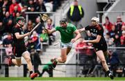23 February 2020; Gearoid Hegarty of Limerick in action against Mark Coleman, left, and Tim O'Mahony of Cork during the Allianz Hurling League Division 1 Group A Round 4 match between Cork and Limerick at Páirc Uí Chaoimh in Cork. Photo by Sam Barnes/Sportsfile