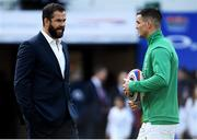 23 February 2020; Ireland head coach Andy Farrell speaks with Ireland captain Jonathan Sexton prior to the Guinness Six Nations Rugby Championship match between England and Ireland at Twickenham Stadium in London, England. Photo by Ramsey Cardy/Sportsfile Photo by Ramsey Cardy/Sportsfile