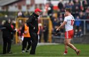 23 February 2020; Kieran McGeary of Tyrone walks off the pitch past manager Mickey Harte after receiving a red card during the Allianz Football League Division 1 Round 4 match between Galway and Tyrone at Tuam Stadium in Tuam, Galway.  Photo by David Fitzgerald/Sportsfile