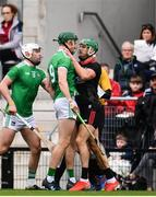 23 February 2020; William O'Donoghue of Limerick and Eoin Cadogan of Cork, tussle during the Allianz Hurling League Division 1 Group A Round 4 match between Cork and Limerick at Páirc Uí Chaoimh in Cork. Photo by Sam Barnes/Sportsfile