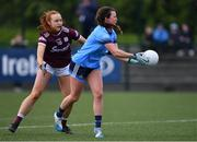 23 February 2020; Leah Caffrey of Dublin in action against Siobhán Divilly of Galway during the 2020 Lidl Ladies National Football League Division 1 Round 4 match between Dublin and Galway at Dublin City University Sportsgrounds in Glasnevin, Dublin. Photo by Piaras Ó Mídheach/Sportsfile