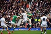 23 February 2020; Elliot Daly of England in action against Robbie Henshaw, left, and Jordan Larmour of Irelandduring the Guinness Six Nations Rugby Championship match between England and Ireland at Twickenham Stadium in London, England. Photo by Brendan Moran/Sportsfile Photo by Brendan Moran/Sportsfile