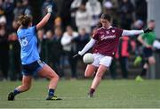 23 February 2020; Róisín Leonard of Galway in action against Laura McGinley of Dublin during the 2020 Lidl Ladies National Football League Division 1 Round 4 match between Dublin and Galway at Dublin City University Sportsgrounds in Glasnevin, Dublin. Photo by Piaras Ó Mídheach/Sportsfile