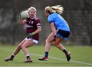 23 February 2020; Lynsey Noone of Galway in action against Carla Rowe of Dublin during the 2020 Lidl Ladies National Football League Division 1 Round 4 match between Dublin and Galway at Dublin City University Sportsgrounds in Glasnevin, Dublin. Photo by Piaras Ó Mídheach/Sportsfile