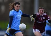 23 February 2020; Lyndsey Davey of Dublin in action against Leanne Coen of Galway during the 2020 Lidl Ladies National Football League Division 1 Round 4 match between Dublin and Galway at Parnell Park in Dublin. Photo by Piaras Ó Mídheach/Sportsfile