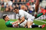 23 February 2020; George Ford of England scores his side's first try after a mistake from Jonathan Sexton of Irelandduring the Guinness Six Nations Rugby Championship match between England and Ireland at Twickenham Stadium in London, England. Photo by Brendan Moran/Sportsfile Photo by Brendan Moran/Sportsfile