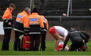 23 February 2020; Cathal McShane of Tyrone receives medical treatment prior to being stretchered off during the Allianz Football League Division 1 Round 4 match between Galway and Tyrone at Tuam Stadium in Tuam, Galway.  Photo by David Fitzgerald/Sportsfile