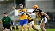 23 February 2020; Eoin Guilfoyle of Clare, has his shot blocked  by Darren Mullen of Kilkenny during the Allianz Hurling League Division 1 Group B Round 4 match between Kilkenny and Clare at UPMC Nowlan Park in Kilkenny. Photo by Ray McManus/Sportsfile