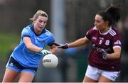 23 February 2020; Jennifer Dunne of Dublin in action against Charlotte Cooney of Galway during the 2020 Lidl Ladies National Football League Division 1 Round 4 match between Dublin and Galway at Dublin City University Sportsgrounds in Glasnevin, Dublin. Photo by Piaras Ó Mídheach/Sportsfile
