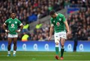 23 February 2020; Jonathan Sexton of Ireland looks to his kicking tee after missing a penalty during the Guinness Six Nations Rugby Championship match between England and Ireland at Twickenham Stadium in London, England. Photo by Ramsey Cardy/Sportsfile Photo by Ramsey Cardy/Sportsfile