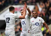 23 February 2020; George Ford of England celebrates after scoring his side's second try with team-mates Owen Farrell and Kyle Sinkler during the Guinness Six Nations Rugby Championship match between England and Ireland at Twickenham Stadium in London, England. Photo by Brendan Moran/Sportsfile Photo by Brendan Moran/Sportsfile