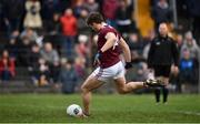 23 February 2020; Shane Walsh of Galway shoots to score his side's first goal from a penalty during the Allianz Football League Division 1 Round 4 match between Galway and Tyrone at Tuam Stadium in Tuam, Galway.  Photo by David Fitzgerald/Sportsfile