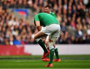 23 February 2020; Jonathan Sexton of Ireland checks his studs after missing a penalty during the Guinness Six Nations Rugby Championship match between England and Ireland at Twickenham Stadium in London, England. Photo by Brendan Moran/Sportsfile Photo by Brendan Moran/Sportsfile