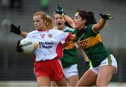 23 February 2020; Emma Brennan of Tyrone in action against Aislinn Desmond of Kerry during the Lidl Ladies National Football League Division 2 Round 4 match between Kerry and Tyrone at Fitzgerald Stadium in Killarney, Kerry. Photo by Diarmuid Greene/Sportsfile