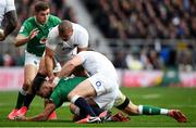 23 February 2020; Conor Murray of Ireland is tackled by Jonathan Joseph and Owen Farrell of England during the Guinness Six Nations Rugby Championship match between England and Ireland at Twickenham Stadium in London, England. Photo by Ramsey Cardy/Sportsfile Photo by Ramsey Cardy/Sportsfile