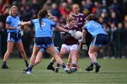 23 February 2020; Lucy Hannon of Galway in action against Dublin players, from left, Leah Caffrey, Caoimhe O'Connor, and Niamh Collins during the 2020 Lidl Ladies National Football League Division 1 Round 4 match between Dublin and Galway at Dublin City University Sportsgrounds in Glasnevin, Dublin. Photo by Piaras Ó Mídheach/Sportsfile