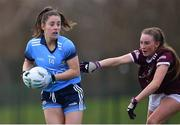 23 February 2020; Siobhán Woods of Dublin in action against Ailbhe Davoren of Galway during the 2020 Lidl Ladies National Football League Division 1 Round 4 match between Dublin and Galway at Dublin City University Sportsgrounds in Glasnevin, Dublin. Photo by Piaras Ó Mídheach/Sportsfile