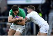 23 February 2020; Jacob Stockdale of Ireland is tackled by George Ford of England during the Guinness Six Nations Rugby Championship match between England and Ireland at Twickenham Stadium in London, England. Photo by Ramsey Cardy/Sportsfile Photo by Ramsey Cardy/Sportsfile