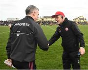 23 February 2020; Tyrone manager Mickey Harte, right, and Galway manager Padraic Joyce shake hands following the Allianz Football League Division 1 Round 4 match between Galway and Tyrone at Tuam Stadium in Tuam, Galway.  Photo by David Fitzgerald/Sportsfile