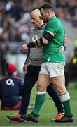 23 February 2020; Cian Healy of Ireland leaves the field with an injury during the Guinness Six Nations Rugby Championship match between England and Ireland at Twickenham Stadium in London, England. Photo by Brendan Moran/Sportsfile Photo by Brendan Moran/Sportsfile