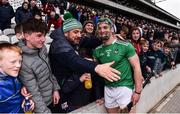 23 February 2020; Sean Finn of Limerick celebrates with supporters following the Allianz Hurling League Division 1 Group A Round 4 match between Cork and Limerick at Páirc Uí Chaoimh in Cork. Photo by Sam Barnes/Sportsfile
