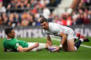 23 February 2020; George Ford of England celebrates after scoring his side's first try after a mistake from Jonathan Sexton of Ireland during the Guinness Six Nations Rugby Championship match between England and Ireland at Twickenham Stadium in London, England. Photo by Brendan Moran/Sportsfile Photo by Brendan Moran/Sportsfile