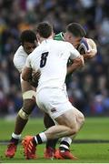 23 February 2020; Jonathan Sexton of Ireland is tackled by Tom Curry and Courtney Lawes of England during the Guinness Six Nations Rugby Championship match between England and Ireland at Twickenham Stadium in London, England. Photo by Ramsey Cardy/Sportsfile Photo by Ramsey Cardy/Sportsfile
