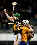 23 February 2020; Eoin Cody of Kilkenny wins possession ahead of team mate Walter Walsh and Clare's Conor Cleary during the Allianz Hurling League Division 1 Group B Round 4 match between Kilkenny and Clare at UPMC Nowlan Park in Kilkenny. Photo by Ray McManus/Sportsfile