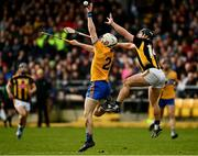 23 February 2020; Liam Corry of Clare wins possession ahead of Richie Hogan of Kilkenny during the Allianz Hurling League Division 1 Group B Round 4 match between Kilkenny and Clare at UPMC Nowlan Park in Kilkenny. Photo by Ray McManus/Sportsfile