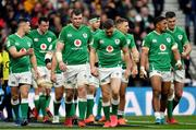 23 February 2020; Ireland players including Jordan Larmour, centre, react after conceding their side's third try during the Guinness Six Nations Rugby Championship match between England and Ireland at Twickenham Stadium in London, England. Photo by Brendan Moran/Sportsfile Photo by Brendan Moran/Sportsfile