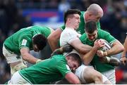 23 February 2020; Jonathan Sexton of Ireland supported by James Ryan, Tadhg Furlong, and Devin Toner is tackled by Tom Curry of England during the Guinness Six Nations Rugby Championship match between England and Ireland at Twickenham Stadium in London, England. Photo by Ramsey Cardy/Sportsfile