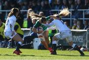 23 February 2020; Abby Dow of England in action Aoife Doyle of Ireland during the Women's Six Nations Rugby Championship match between England and Ireland at Castle Park in Doncaster, England.  Photo by Simon Bellis/Sportsfile