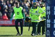 23 February 2020; Lindsay Peat of Ireland is stretchered off injured during the Women's Six Nations Rugby Championship match between England and Ireland at Castle Park in Doncaster, England.  Photo by Simon Bellis/Sportsfile