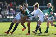 23 February 2020; Sene Naoupu of Ireland in action against Emily Scarratt sand Amber Reed of England during the Women's Six Nations Rugby Championship match between England and Ireland at Castle Park in Doncaster, England.  Photo by Simon Bellis/Sportsfile
