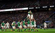23 February 2020; Ultan Dllane of Ireland wins possession in the lineout ahead of Maro Itoje of England during the Guinness Six Nations Rugby Championship match between England and Ireland at Twickenham Stadium in London, England. Photo by Brendan Moran/Sportsfile