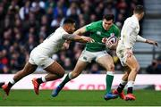 23 February 2020; Jacob Stockdale of Ireland is tackled by Manu Tuilagi of England during the Guinness Six Nations Rugby Championship match between England and Ireland at Twickenham Stadium in London, England. Photo by Ramsey Cardy/Sportsfile