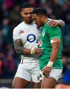 23 February 2020; Manu Tuilagi of England, left, and Bundee Aki of Ireland after the Guinness Six Nations Rugby Championship match between England and Ireland at Twickenham Stadium in London, England. Photo by Brendan Moran/Sportsfile