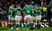 23 February 2020; Ireland captain Jonathan Sexton speaks to his players after the Guinness Six Nations Rugby Championship match between England and Ireland at Twickenham Stadium in London, England. Photo by Brendan Moran/Sportsfile