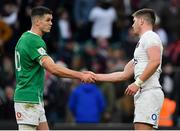 23 February 2020; Team captains Jonathan Sexton of Ireland, left, and Owen Farrell of England shake hands after the Guinness Six Nations Rugby Championship match between England and Ireland at Twickenham Stadium in London, England. Photo by Brendan Moran/Sportsfile