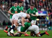 23 February 2020; Robbie Henshaw of Ireland is tackled by Joe Marler and Jamie George of England during the Guinness Six Nations Rugby Championship match between England and Ireland at Twickenham Stadium in London, England. Photo by Brendan Moran/Sportsfile