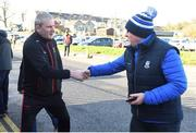 23 February 2020; Mayo manager James Horan and Monaghan county board chairman Michael Eoin McMahon shake hands ahead of the Allianz Football League Division 1 Round 4 match between Monaghan and Mayo at St Tiernach's Park in Clones, Monaghan. Photo by Oliver McVeigh/Sportsfile