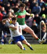 23 February 2020; Karl O'Connell of Monaghan in action against Jordan Flynn of Mayo during the Allianz Football League Division 1 Round 4 match between Monaghan and Mayo at St Tiernach's Park in Clones, Monaghan. Photo by Ben McShane/Sportsfile