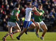 23 February 2020; Conor Boyle of Monaghan in action against Oisin Mullin of Mayo during the Allianz Football League Division 1 Round 4 match between Monaghan and Mayo at St Tiernach's Park in Clones, Monaghan. Photo by Oliver McVeigh/Sportsfile