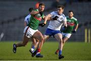 23 February 2020; Aidan O'Shea of Mayo in action against Niall Kearns of Monaghan during the Allianz Football League Division 1 Round 4 match between Monaghan and Mayo at St Tiernach's Park in Clones, Monaghan. Photo by Oliver McVeigh/Sportsfile