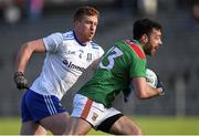 23 February 2020; Kevin McLoughlin of Mayo in action against Kieran Duffy of Monaghan during the Allianz Football League Division 1 Round 4 match between Monaghan and Mayo at St Tiernach's Park in Clones, Monaghan. Photo by Oliver McVeigh/Sportsfile
