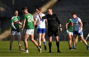 23 February 2020; Jordan Flynn of Mayo, 24, is asked to leave the pitch by referee Anthony Nolan during the Allianz Football League Division 1 Round 4 match between Monaghan and Mayo at St Tiernach's Park in Clones, Monaghan. Photo by Oliver McVeigh/Sportsfile