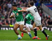 23 February 2020; Bundee Aki of Ireland is tackled by Owen Farrell of England during the Guinness Six Nations Rugby Championship match between England and Ireland at Twickenham Stadium in London, England. Photo by Brendan Moran/Sportsfile