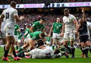 23 February 2020; Referee Jaco Peyper signals for a try scored by Robbie Henshaw of Ireland during the Guinness Six Nations Rugby Championship match between England and Ireland at Twickenham Stadium in London, England. Photo by Brendan Moran/Sportsfile