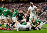 23 February 2020; Jordan Larmour of Ireland celebrates after Robbie Henshaw of Ireland scores his side's second try during the Guinness Six Nations Rugby Championship match between England and Ireland at Twickenham Stadium in London, England. Photo by Brendan Moran/Sportsfile