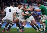 23 February 2020; Dave Kilcoyne of Ireland is tackled by Kyle Sinkler of England during the Guinness Six Nations Rugby Championship match between England and Ireland at Twickenham Stadium in London, England. Photo by Ramsey Cardy/Sportsfile